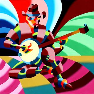 Mark Webster - The Futurist Banjo Player - Abstract Oil Painting