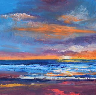 Sunset Seascape, Beach and Ocean Paintings by Amy Whitehouse