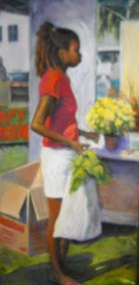 Island Marketplace, Large Figurative Painting, 52x26x1.5