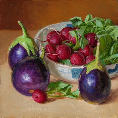 Radishes eggplant still life painting for kitchen