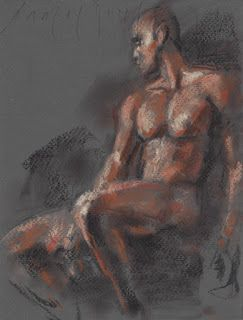 Seated male nude study