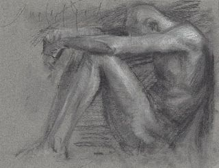Sitting male nude charcoal drawing