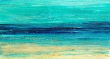 "Mixed Media Abstract Seascape Painting ""Serenity"" by California Artist Cecelia Catherine Rappaport"