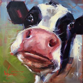 ORIGINAL CONTEMPORARY COW Painting on Panel in OILS by OLGA WAGNER