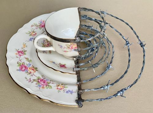 Barbed Wire, Rusty Knives, and Found Objects Mend Artist Glen Taylor's Broken Porcelain