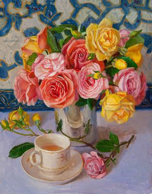Roses with a cup of tea still life oil painting contemporary realism flower rose flora