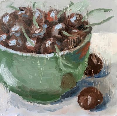 235 Life Is But A Bowl Of Cherries, Still life Painting of a bowl of cherries, a painting a day by Fred Bell
