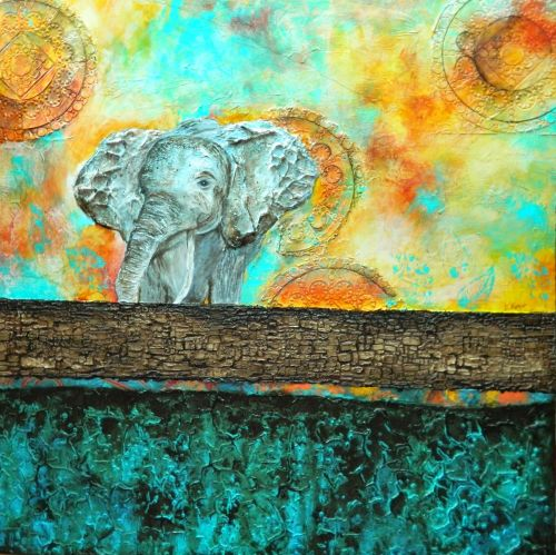 """The Road Less Traveled"", Original Mixed Media Painting by Colorado Artist, Donna L. Martin"