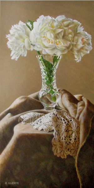 White Peonies in Crystal Vase with Crocheted Lace and Taupe Damask Fabric still life oil painting