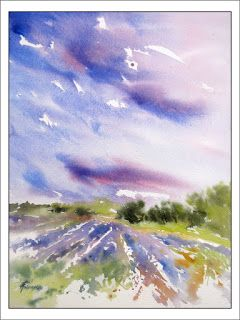 Lavender Field Spendor 1.Watercolor.Texas Artist.Rae Andrews