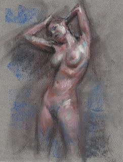 Rising up female nude figure