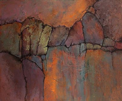 "Abstract Geologic Landscape Art ""Ancient Mysteries"" by Colorado Mixed Media Abstract Artist Carol Nelson"