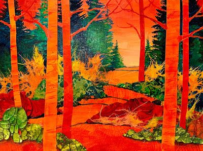 """Abstract Landscape, Trees, Contemporary Painting, """"Red Woods"""" by Carol Nelson Fine Art"""
