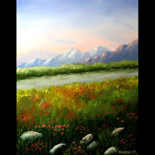 Mark Webster - Sunrise at the Mountain River Landscape Oil Painting