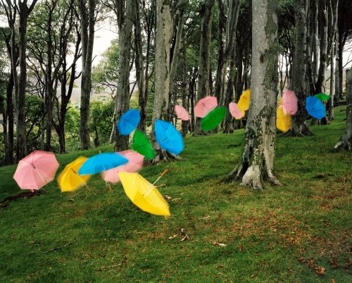 Suspended Groups of Umbrellas, Lollipops, and Plates Swarm the Isle of Man in New Photographs by Thomas Jackson