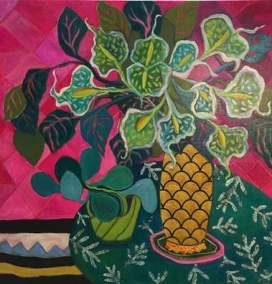 """Contemporary Expressionist Bold Still Life Flower Art Painting """"Moonlight Lilies"""" by Santa Fe Artist Annie O'Brien Gonzales"""