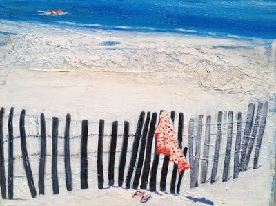 """Contemporary Beach,Seascape,Ocean Painting """"Afternoon Swim"""" by California Artist, Cecelia Catherine Rappaport"""