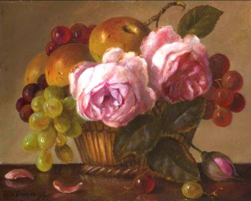 English Roses, Grapes and Apples in Wicker Basket classical small oil painting still life floral fruit