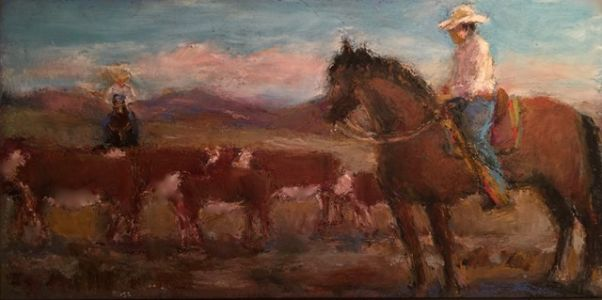 On My Easel - Cowhands - oil pastel figurative