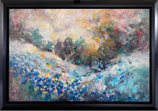 """New """"Blossoming Dreams II"""" Abstract Bluebonnet Painting by Niki Gulley"""