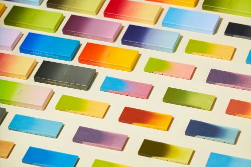 Rich Gradients Flow Through a Luxe Set of Chocolate Bars with Matching Packaging