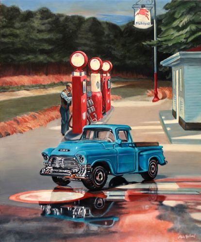 Stop for Gas, an homage to Edward Hopper