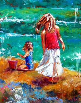 "Children Figure Painting, Little Girls, Beach, Sand,Palette Knife Painting ""White Skirt"" by Texas Artist Debra Hurd"