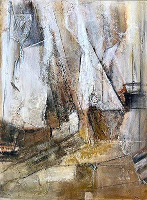 """Abstract Painting, Sail Boat Painting, Nautical Art, Sailing """"Shifting Sails"""" by California Artist Cecelia Catherine Rappaport"""