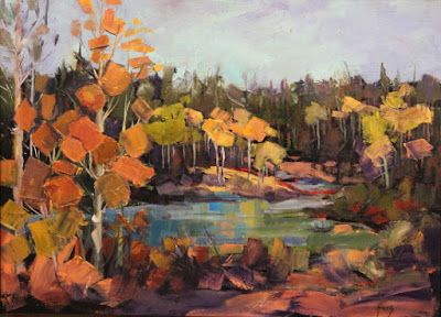 "Impressionist Landscape,Trees, Fine Art Oil Painting ""Deep Woods, Hidden Lake"" by Colorado Contemporary Fine Artist Jody Ahrens"