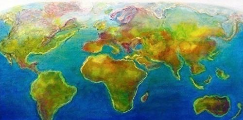 "Map, Landscape, Mixed Media Art Painting ""The World"" by Cecelia Catherine Rappaport"