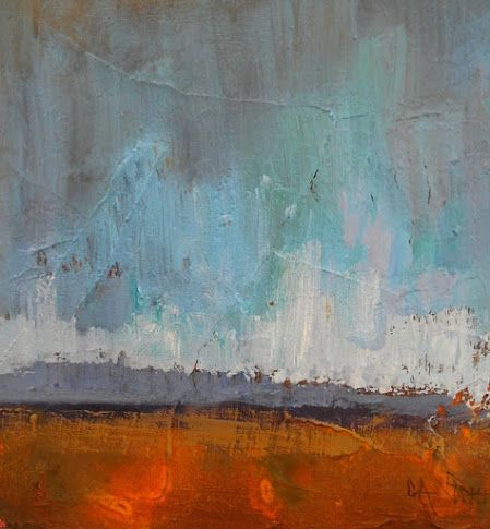 """Abstract Landscape Oil Painting, Small Oil Painting, Daily Painter 6x6"""" Oil on Panel """"Red Rock"""""""