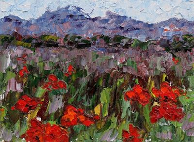 """Original Palette Knife Poppy Landscape Painting """"Poppies Lost and Found"""" by Colorado Impressionist Judith Babcock"""