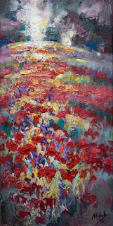 Colorful Poppy Painting by Palette Knife Artist Niki Gulley