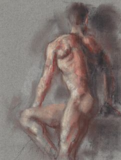 Seated male nude figure