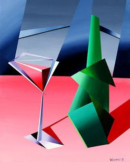 Mark Webster - Abstract Wine Bottle with Glass Still Life Acrylic Painting