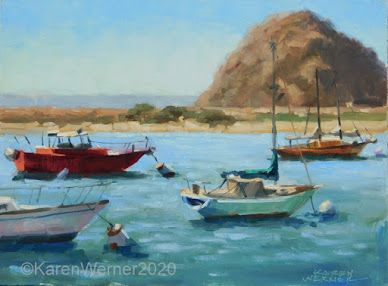 Boats In The Bay -a plein air painting from Morro Bay
