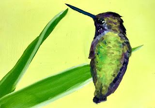 5-Day Challenge, 20-Minute Painting, Ho-Hummingbird 5x7 Oil on Panel