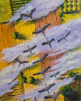 """Contemporary Wildlife Bird Painting """"Fly South"""" by Colorado Artist Nancee Jean Busse, Painter of the American West"""