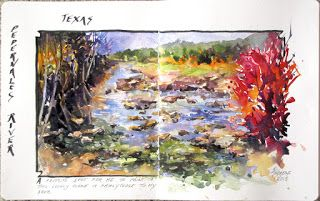 Journal Entry Texas scene..Watercolor..Texas Artist..Rae Andrews