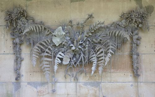 Temporal Floral Structures Formed From Unfired Clay by Phoebe Cummings