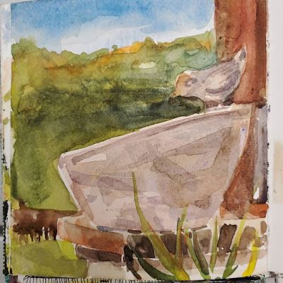 Direct Watercolor Day 3 - Bird Bath