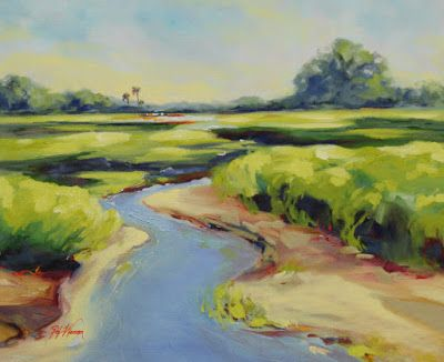 "Georgia Landscape Oil Painting ""New Season Marsh Grass"" by Georgia Artist Pat Warren"