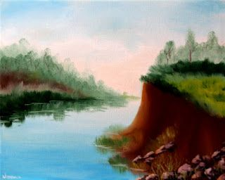 Mark Webster - River Landscape Oil Painting 11410