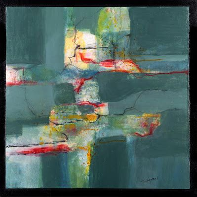 """Mixed Media Abstract Painting, Contemporary Art, Expressionism, """"Green With Envy"""" by Contemporary Artist Tracy Lupanow"""