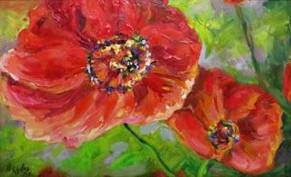"""Ruby Smiles"" Palette Knife Poppy Painting by Niki Gulley"