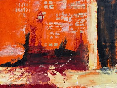 """""""Fire In The Sky"""", Abstract Painting by Arizona Artist, Sharon Sieben"""