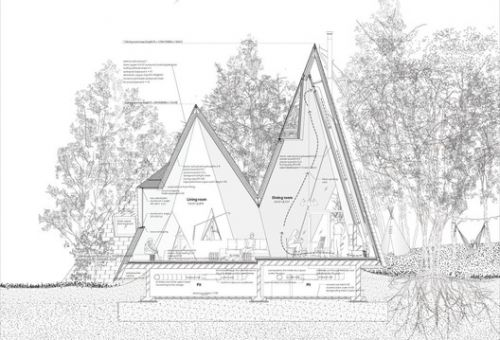 13 Houses with Pitched Roofs and their Sections