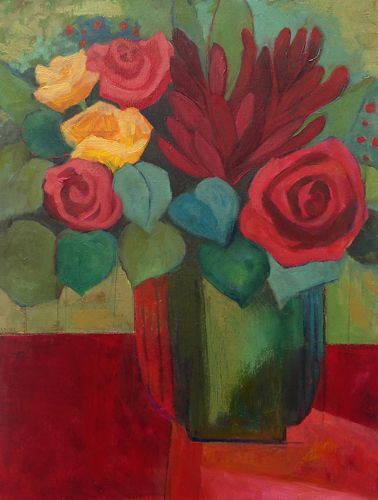 "Contemporary Abstract Still Life Flower Art Painting ""Funny Valentine"" by Santa Fe Artist Annie O'Brien Gonzales"