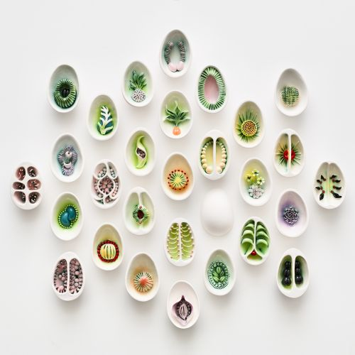 Delicate Cross-Cut Pods Encase Seeds and Other Fruitful Forms in Porcelain