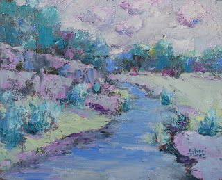 Creek Bound 4, New Contemporary Landscape Painting by Sheri Jones